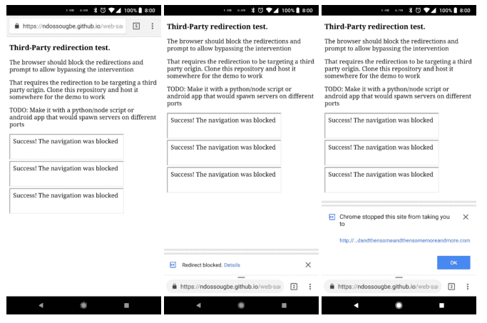 Chrome stopping redirect on Android