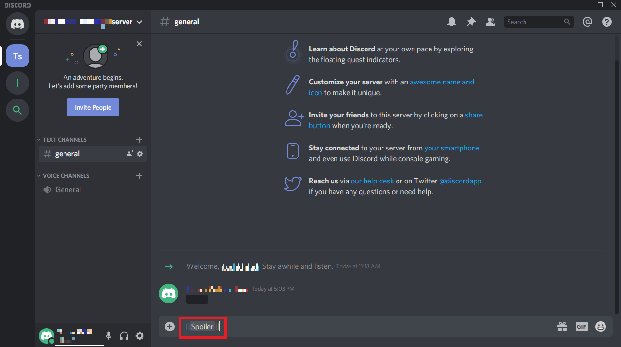 Hide texts as spoilers in Discord 1