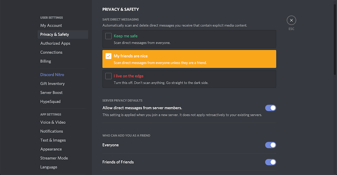 scan messages discord